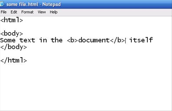 <p> <html> </p>  <p> <body> Some text in the <b>document</b> itself </p>  <p> </body> </p>  <p> </html></p>